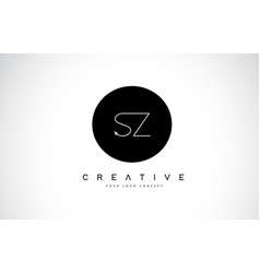Sz s z logo design with black and white creative vector