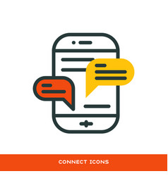 Thin lines connection icon outline of big data vector