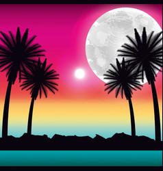 Tropical beach palms moon ocean scenery vector