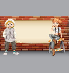 Urban teenagers on blank banner vector