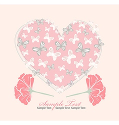 Valentines day card with heart flowers and butterf vector image vector image