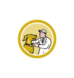 Veterinarian Vet Kneeling Beside Pet Dog Circle vector image
