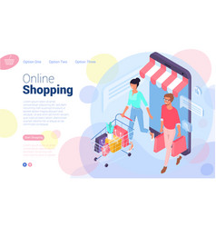 web page template for online shopping vector image