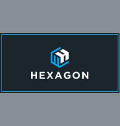 Wh hexagon logo design inspiration vector