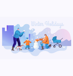 winter holidays flat banner template vector image