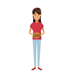 woman holding burger unhealthy nutrition food vector image