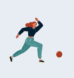 woman play bowling with the vector image