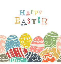 easter eggs on white eggs border by down side vector image