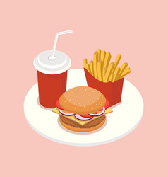 fast food isometric vector image