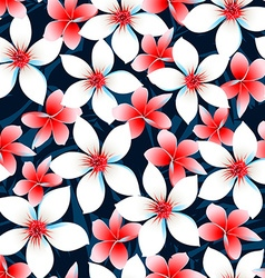 Red white and blue tropical flowers seamless vector image vector image