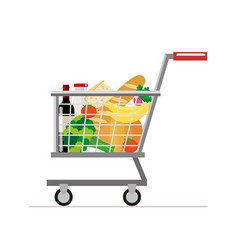 Trolley from the supermarket with food dairy vector