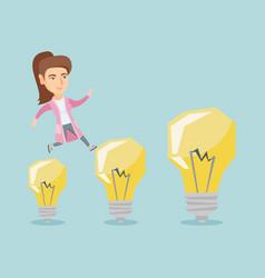 caucasian business woman jumping on light bulbs vector image