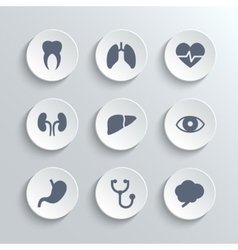 Medical icons set - white round buttons vector image vector image