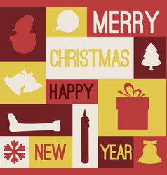 retro christmas card with various seasonal shapes vector image vector image