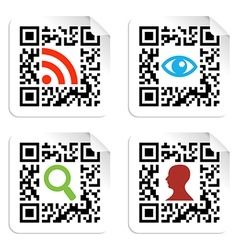 Social icons set with QR code sign label vector image