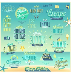summer sea emblems set vector image