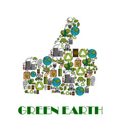 green earth environment protection thumb up poster vector image