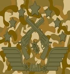 Military Logo Pistol Shooter vector image