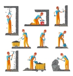 Miner People Flat Collection vector image vector image