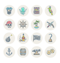 pirate line icon set vector image vector image