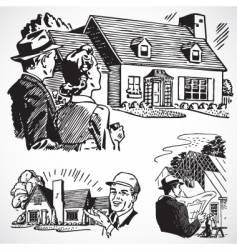 retro real estate vector image