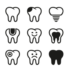 Tooth icons set vector image