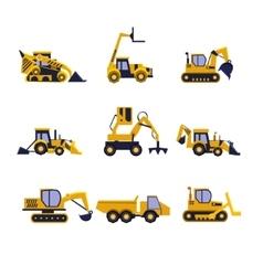Construction Equipment Road Roller Excavator vector image