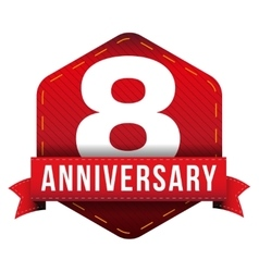 Eight year anniversary badge with red ribbon vector image vector image