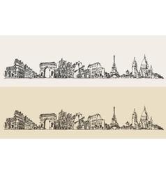 Paris France Vintage Engraved Sketch vector image vector image