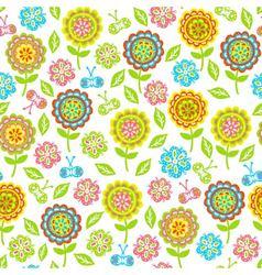 seamless pattern of flowers butterflies leaves vector image