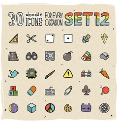 30 Colorful Doodle Icons Set 12 vector image