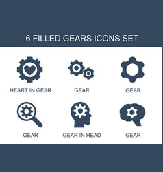 6 gears icons vector