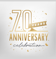 70th anniversary celebration golden template vector image