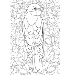 Adult coloring bookpage a cute bird on the floral vector