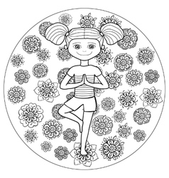 Adult coloring page young girl in tree yoga pose vector