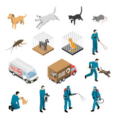 Animal control service isometric set vector