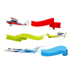attached banners to flying airplanes vector image