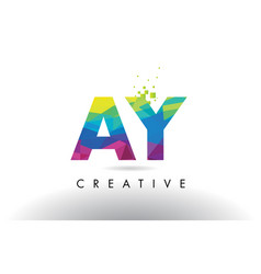Ay a y colorful letter origami triangles design vector