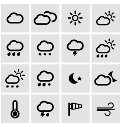 black weather icons set vector image