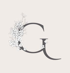 Blooming floral initial g monogram and logo vector