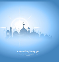 Blue sky ramadan kareem background with mosque vector