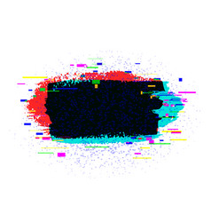 brush strokes banner with glitch rgb effect vector image