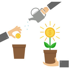 Businessman hand holding money tree watering can vector