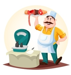 Butcher or meat store worker with sausages vector