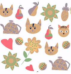 cats nature seamless pattern in it is located in vector image