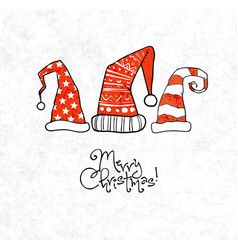 christmas card with three red christmas hats on vector image