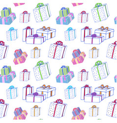 christmas gift boxes seamless pattern hand vector image