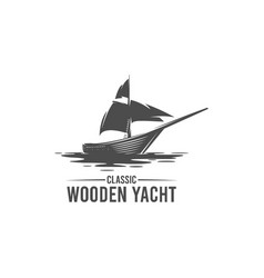 classic wooden yacht silhouette logo vector image
