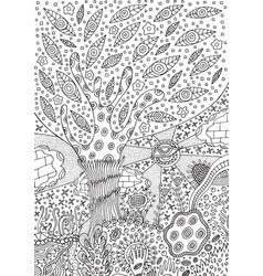 coloring page with surreal landscape vector image