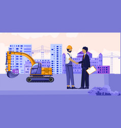 contractor shaking hand with a construction worker vector image
